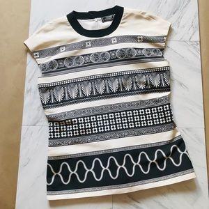 Vintage Gianni Versace Silk Top Black Logo 10